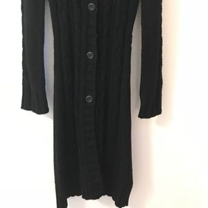 rave Sweaters - Rave Long Black Button Up Sweater